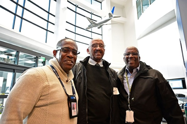 United Airlines check pilot and Capt. Ray Evans, retired airline Capt. Warren Wheeler, and United Capt. Carl Mentor meet at the United Airlines training facility during the AOPA High School Aviation STEM Symposium in Denver Nov. 10, 2019. Photo by David Tulis.